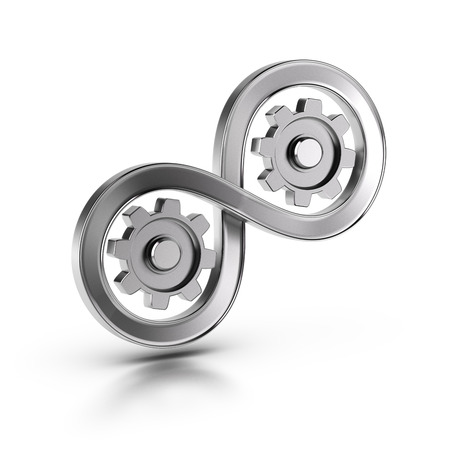 3D illustration of an infinite symbol and cog wheels over white background, Concept of manufacturing continuous improvement of processes..