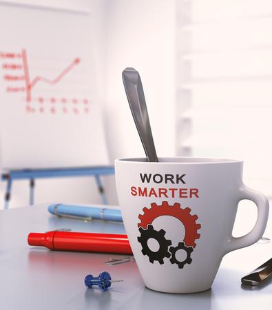 eslogan: Lugar de trabajo con flipchart y una taza donde se escribe trabajo más inteligente, ilustración 3D. Foto de archivo