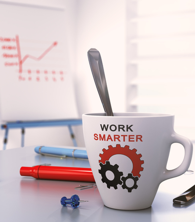 smart goals: Workplace with flipchart and a mug where it is written work smarter, 3D illustration.
