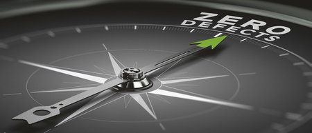 コンパスの針とテキスト ゼロ欠陥、総合的品質管理目標の 3 D イラストレーション