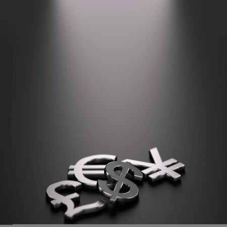 financial advice: 3D illustration of the four main currencies over black background with free space on the top.