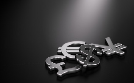3D illustration of the four main currencies over black background with copy space on the top and left sides. Concept of forex trading Reklamní fotografie