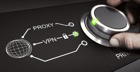 Man utilisant un commutateur pour sélectionner une connexion VPN sécurisée. Réseau de protection virtuelle et concept de confidentialité en ligne. Image composite entre une photographie à la main et un fond 3D.