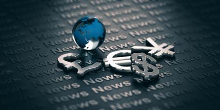 Hoofd valuta symbolen en glazen bol over een donkere achtergrond waar het woord News is geschreven. 3D illustratie. Concept van wereldwijde financiën en marktinformatie.