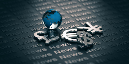 Main currencies symbols and glass globe over a dark background where it is written the word News. 3D illustration. Concept of global finance and market informations.