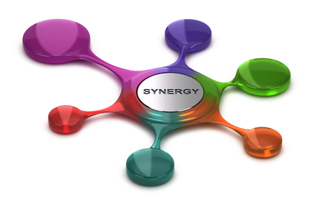 Synergy symbol over white background. Concept of team building or cohesion. 3D illustration