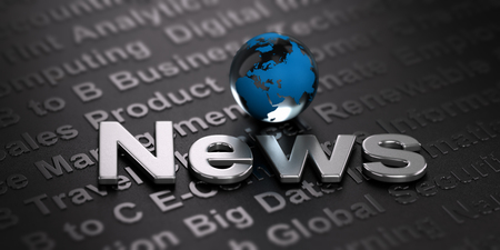 newscast: 3D illustration of a globe and the word news over black background. Business. International media concept. Stock Photo