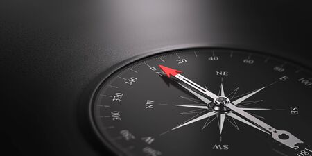 3D illustration of a compass over black background with needle pointing the north direction, free space on the left side of the image. Business orientation concept. Stock Photo