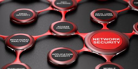 3D-Darstellung der Netzwerk-Sicherheitsdienste über schwarzem Hintergrund. Modernes Design.
