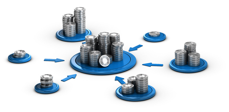 Stacks of generic coins over white background with blue arrows pointing the highest pile. Conceptual 3D illustration for money investment or collaborative finance. Archivio Fotografico