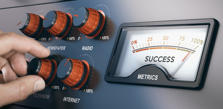 Hand turning knobs with the texts internet, radio, television and newspaper for a multi-channel marketing campaign to create a successful communication. Composite between a photography and a 3D background. Stock Photo