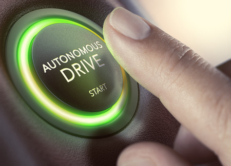 Finger pressing a push button to start a self-driving car. Composite image between a hand photography and a 3D background. Stock Photo
