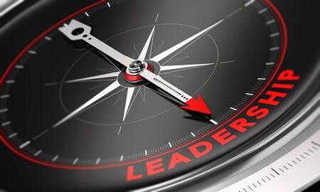 leverage: 3D illustration of a compass with black background. Needle pointing the word leadership. Stock Photo