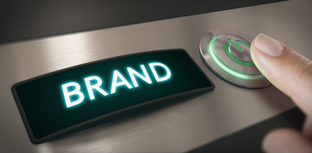 Hand pushing a brand activation button. Composite image between a hand photography and a 3D background. Stock Photo