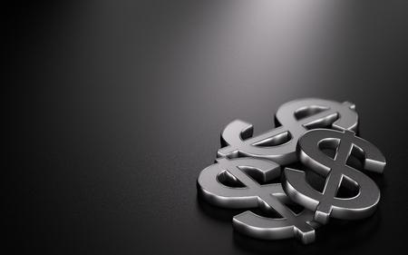 3D illustration of three dollar symbols over black background, Finance Design Stock Photo