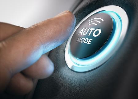 プッシュ ボタンを押すことで自動モードをアクティブにしようと指。手の写真と 3 D 背景の合成画像。