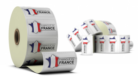 French Product Stickers over white background
