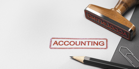 3D illustration of a rubber stamp with other office supplies and the word accounting on a sheet of paper.