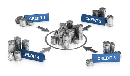 3D illustration of credit consolidation principle over white background. Stock Photo