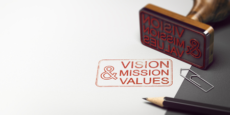 Rubber stamp with other office supplies and the text vision mission and values on a sheet of paper. Company Statement Concept. 3D illustration