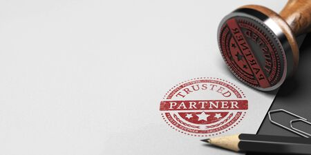 Rubber stamp and office supplies on a paper background with the text trusted partner. Company partnership and trust. 3D illustration Reklamní fotografie