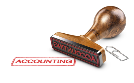 Rubber stamp and paperclip on a white background with the text accounting. Company accounting service. 3D illustration Stock Photo