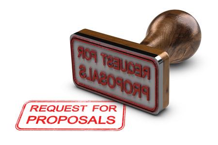 Demande de propositions imprimée sur fond blanc, avec tampon en caoutchouc, concept de DP. Illustration 3D