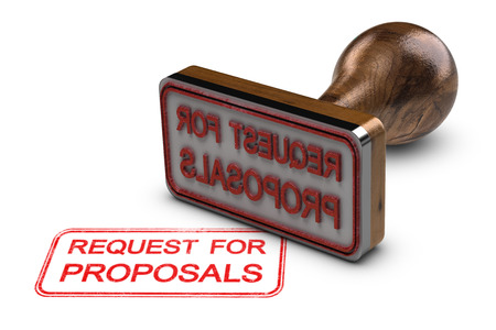 Request for proposals printed on a white background, with rubber stamp, RFP concept. 3D illustration Stock Photo