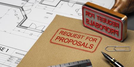 Demande de propositions imprimée sur une enveloppe kraft, avec fournitures de bureau et tampon en caoutchouc, concept RFP. Illustration 3D