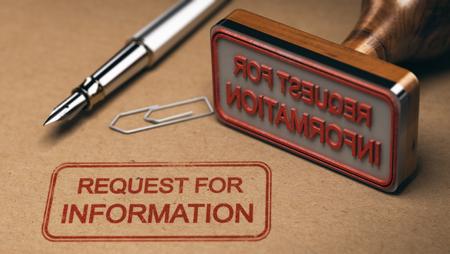 クラフトに印刷情報の要求事務用品、ゴム印、RFI 概念を包みます。3 D イラストレーション