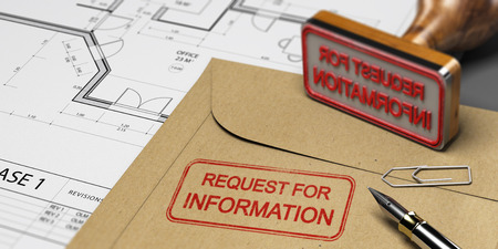 Request for information printed on a kraft envelop, with office supplies, rubber stamp and blueprint, RFI and construction concept. 3D illustration Stock Photo