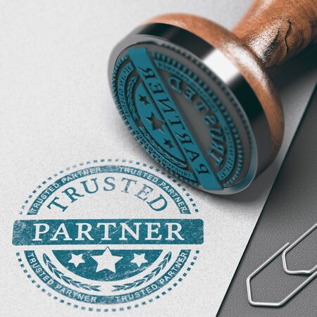 Trusted partner mark imprinted on a paper background with rubber stamp. Concept of trust in business and partnership. Reklamní fotografie