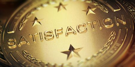 Successful customer satisfaction management. Golden medal, 3D illustration Stock Photo