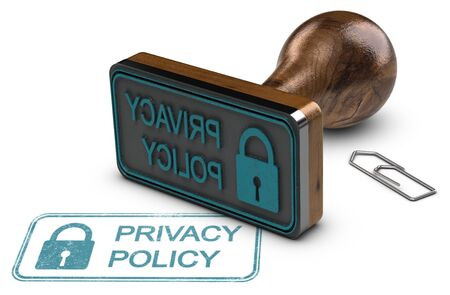 3D illustration of a rubber stamp and the text privacy policy over white background. Stock Photo