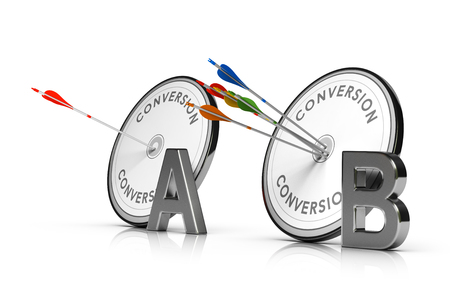 3D illustration of two targets and arrows over white background. Concept of web page A/B Testing