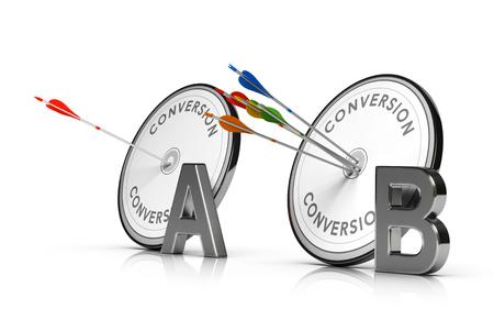 3D illustratie van twee doelen en pijlen op witte achtergrond. Concept van webpagina A  B testen