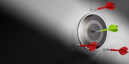 モダンなダーツボードの中心を打つ 1 つの緑ダーツ 3 D イラスト。目的を達成に失敗する 3 つの赤いダーツ
