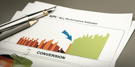 Paper sheet with conversion rates statistics and rapid performance, 3D illustration. Stock Photo