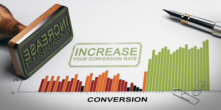 Paper sheet with conversion rates statistics, rubber stamp and slogan with the text increase your conversion rate. 3D illustration. Stock Photo