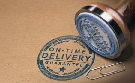 Rubber stamp and on-time delivery guarantee mark on carton box, 3D illustration