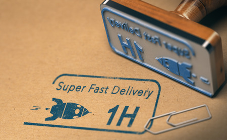 Rubber stamp and super fast delivery test on carton box. Courier service concept, 3D illustration Stock Photo