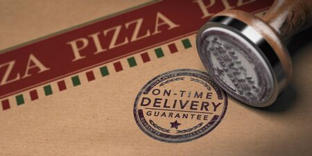Rubber stamp and pizza carton box with focus on on-time delivery guarantee text stamped on the cardboard, 3D illustration