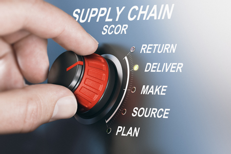 Hand turning SCOR switch to deliver position. Supply chain management concept. Composite image between a hand photography and a 3D background.