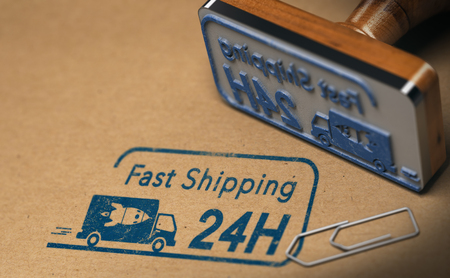 Rubber stamp and carton box with focus on fast shipping text stamped on the cardboard, 3D illustration Stock Photo