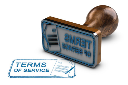 Rubber stamp with the text terms of service stamped over white background. 3D illustration. Stock Photo