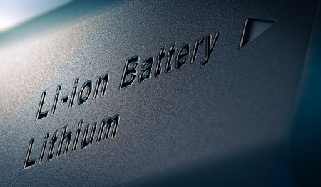 3D illustration of lithium battery pack, close up on the text