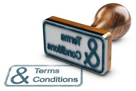 3D illustration of a rubber stamp with the text terms and conditions stamped over white background