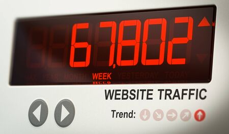 Digital screen indicating the number of website visits. Concept of internet audience metrics. 3D illustration. Stock Photo