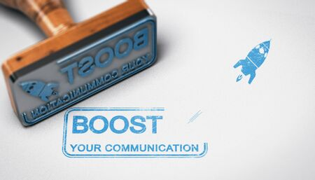 Rubber stamp with the text boost your communication stamped over paper background. Advertising concept. 3D illustration. Stock Photo