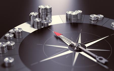 お金、利益と良い投資アドバイスや富管理の概念の最大の山を指している針で黒背景にコンパスします。3 D イラスト。